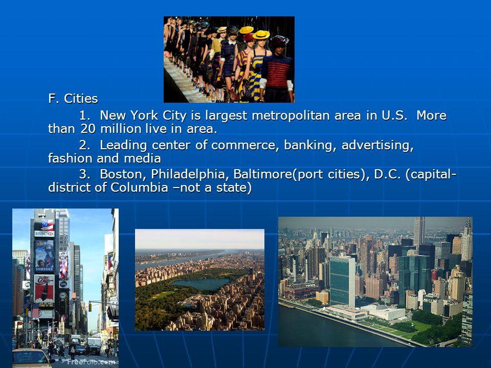 F. Cities 1. New York City is largest metropolitan area in U.S.
