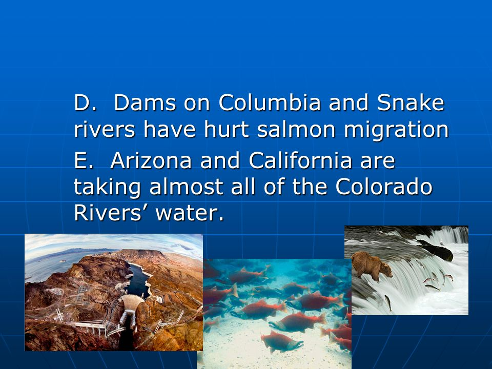 D. Dams on Columbia and Snake rivers have hurt salmon migration E.