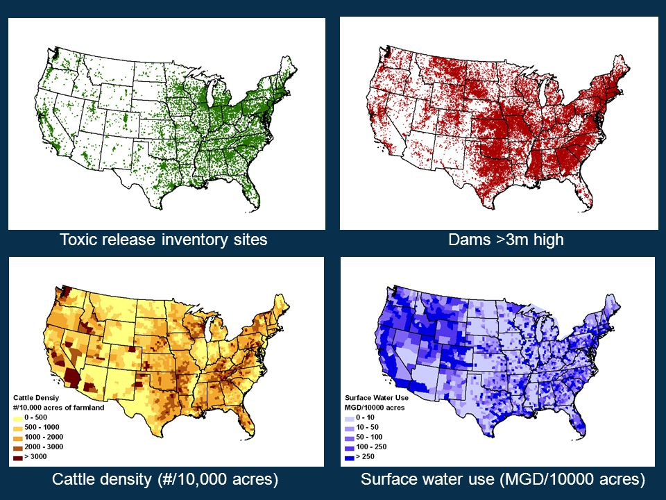Cattle density (#/10,000 acres)Surface water use (MGD/10000 acres) Dams >3m highToxic release inventory sites