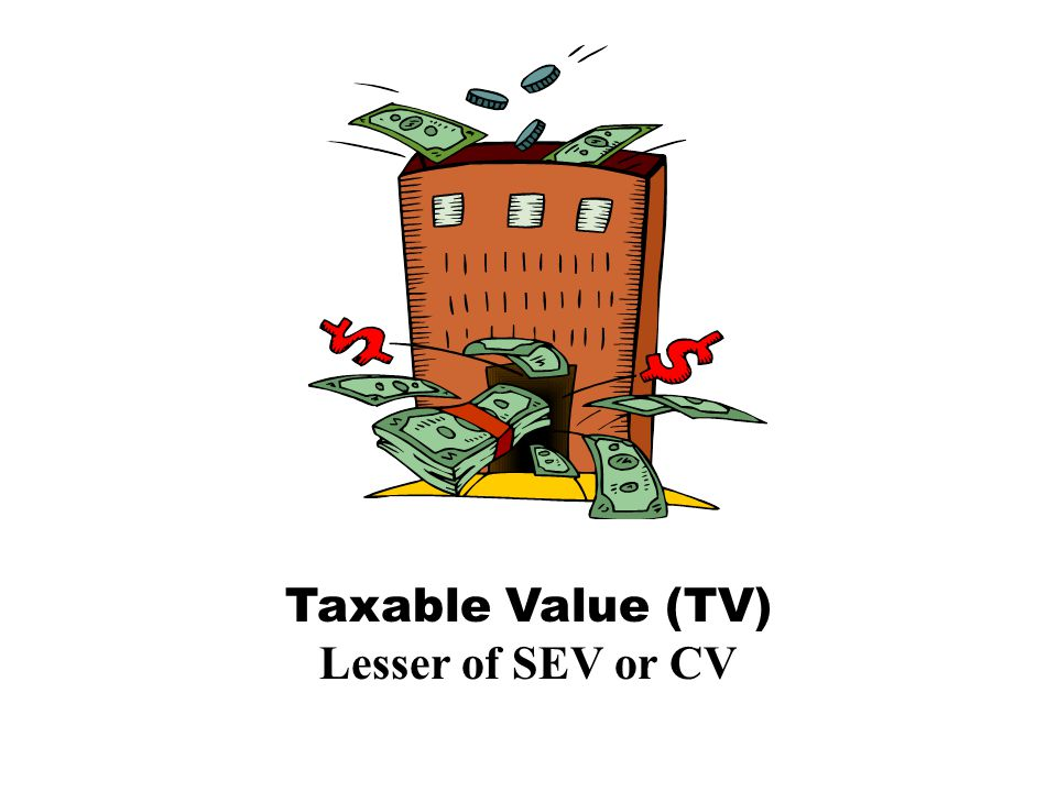 Capped Value (CV) (Last Years Taxable Value – losses) x (100% +(CPI or 5%) + additions) = New Capped Value