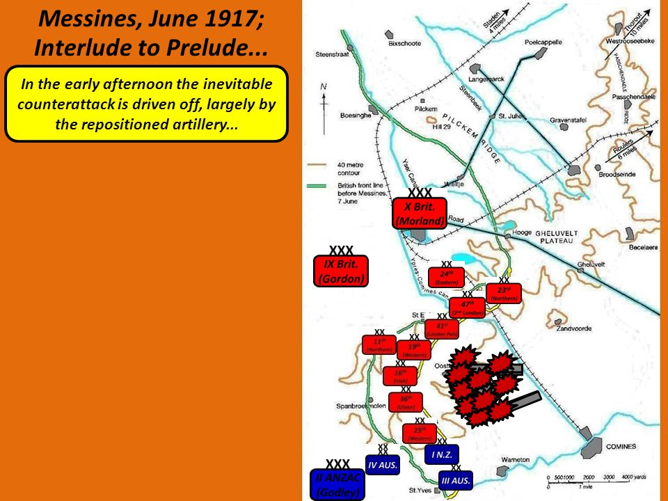 Messines, June 1917; Interlude to Prelude... In the early afternoon the inevitable counterattack is driven off, largely by the repositioned artillery.