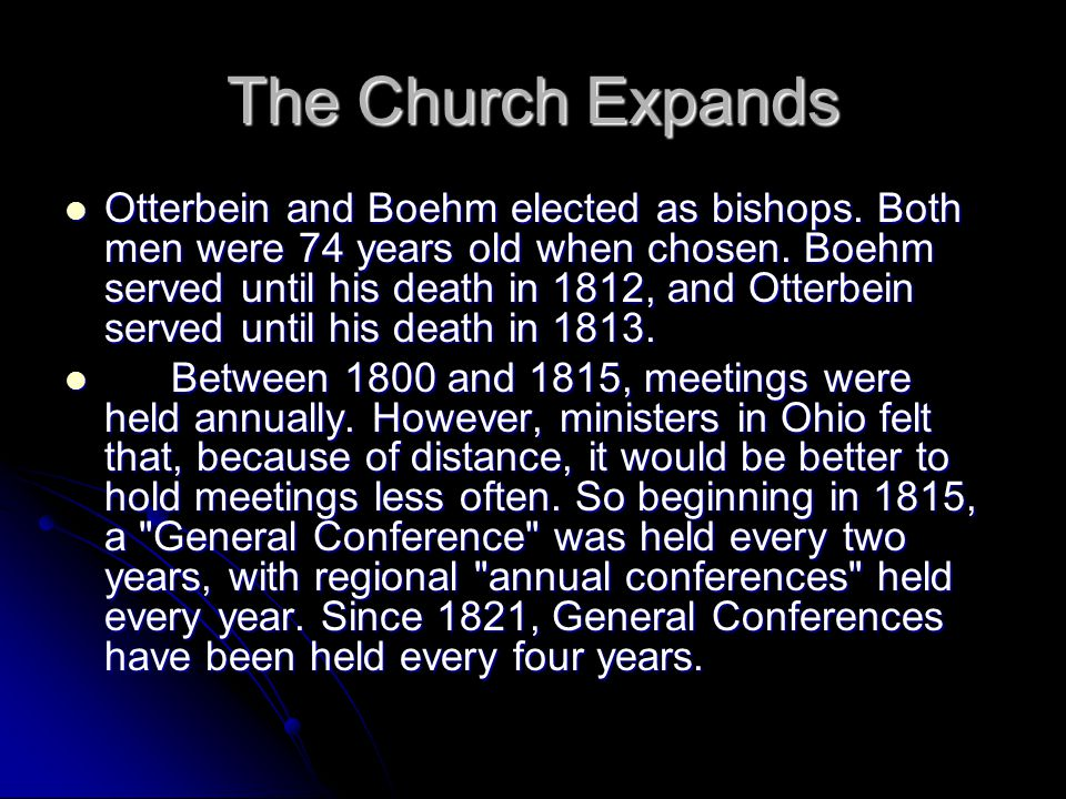 Evangelical Association Personal piety marked the development of the denomination.