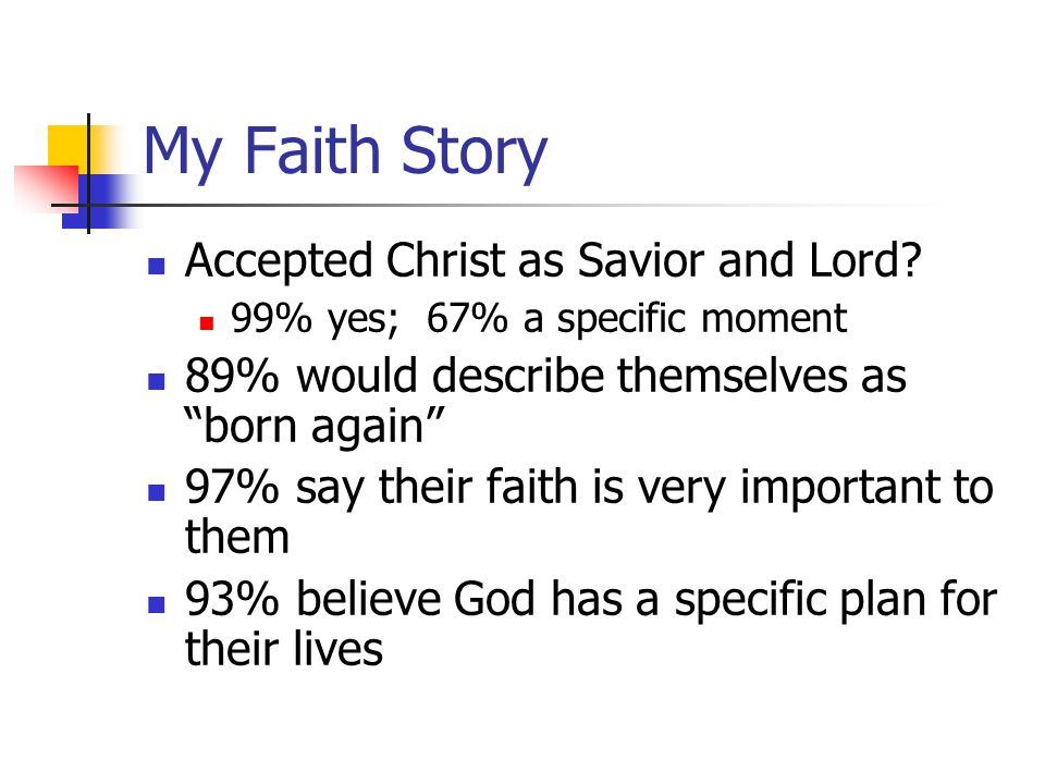 "My Faith Story Accepted Christ as Savior and Lord? 99% yes; 67% a specific moment 89% would describe themselves as ""born again"" 97% say their faith is"