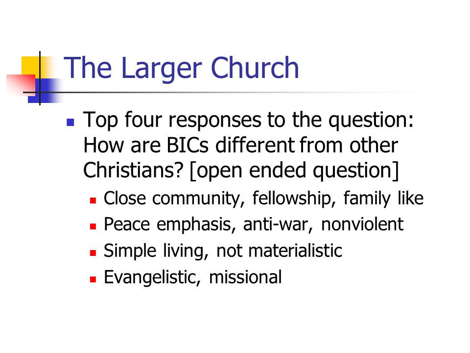The Larger Church Top four responses to the question: How are BICs different from other Christians.