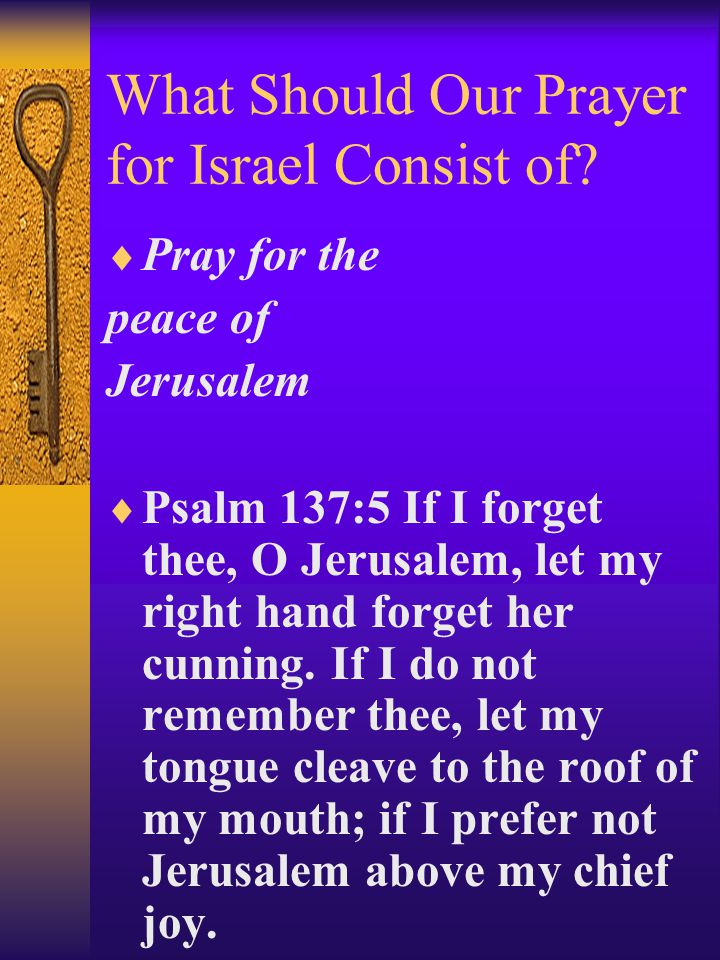 What Should Our Prayer for Israel Consist of.