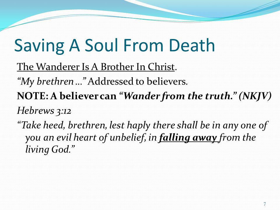 Saving A Soul From Death The Wanderer Is A Brother In Christ.