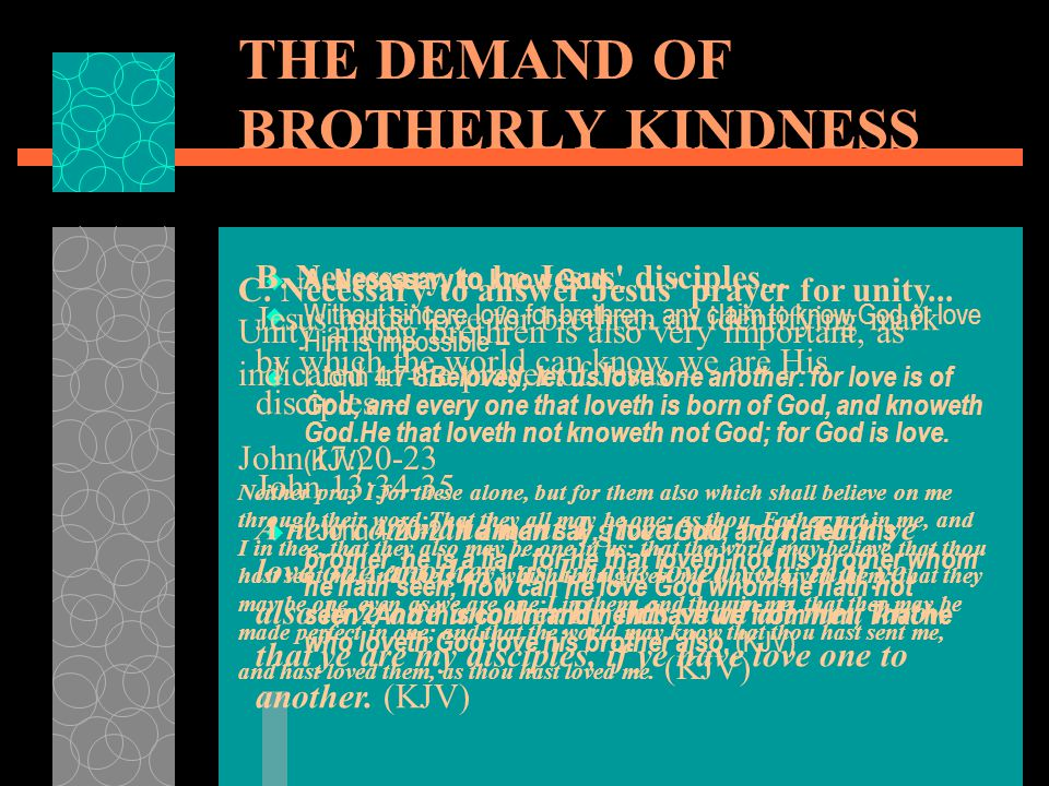 THE DEMAND OF BROTHERLY KINDNESS  A. Necessary to know God...