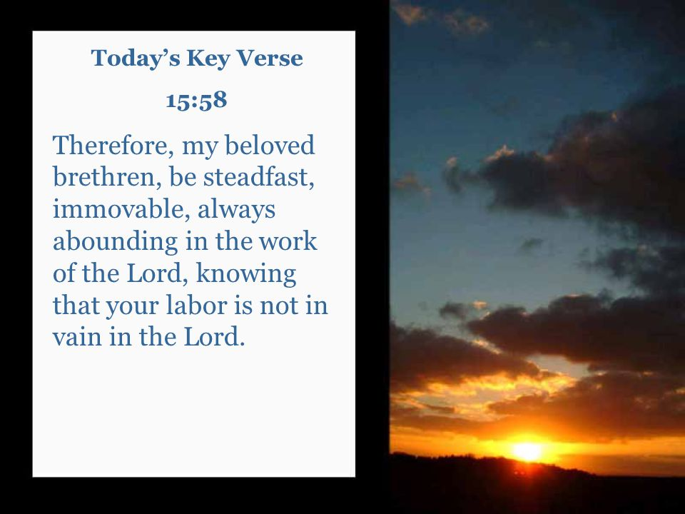 Today's Key Verse 15:58 Therefore, my beloved brethren, be steadfast, immovable, always abounding in the work of the Lord, knowing that your labor is not in vain in the Lord.