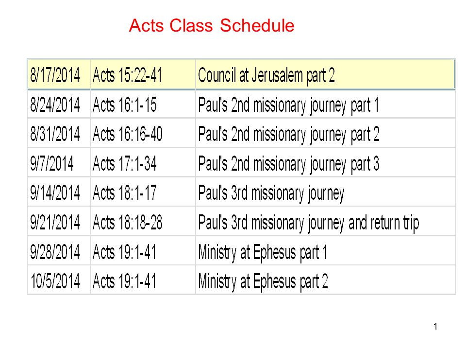 1 Acts Class Schedule