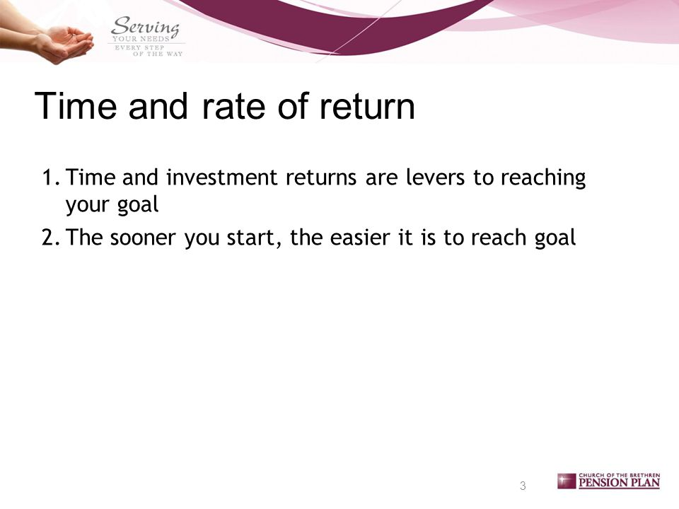 Time and rate of return 3 1.Time and investment returns are levers to reaching your goal 2.The sooner you start, the easier it is to reach goal