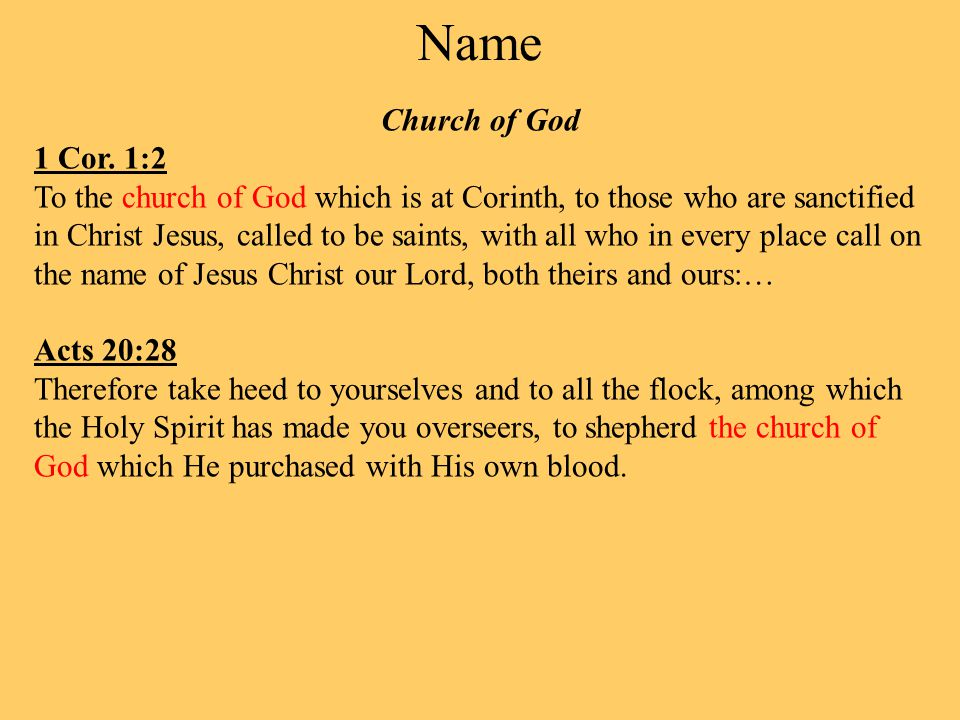 Name Church of God 1 Cor.