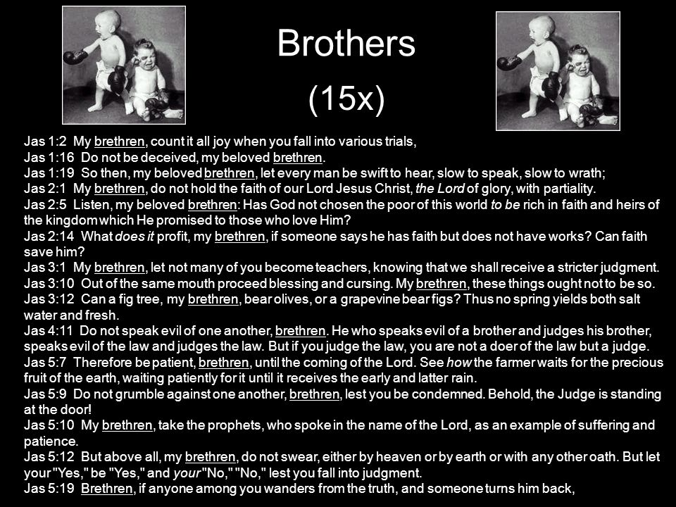 Brothers (15x) Jas 1:2 My brethren, count it all joy when you fall into various trials, Jas 1:16 Do not be deceived, my beloved brethren.