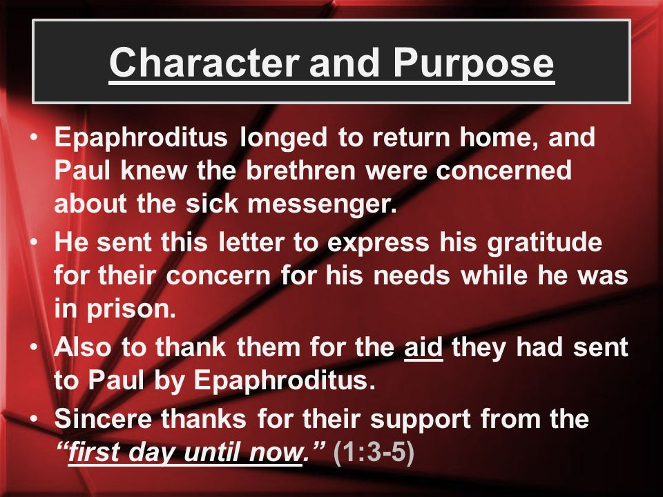 Contents of the Letter Fellowship in evangelism These brethren had partnered with Paul (had fellowship) by contributing to his daily needs.