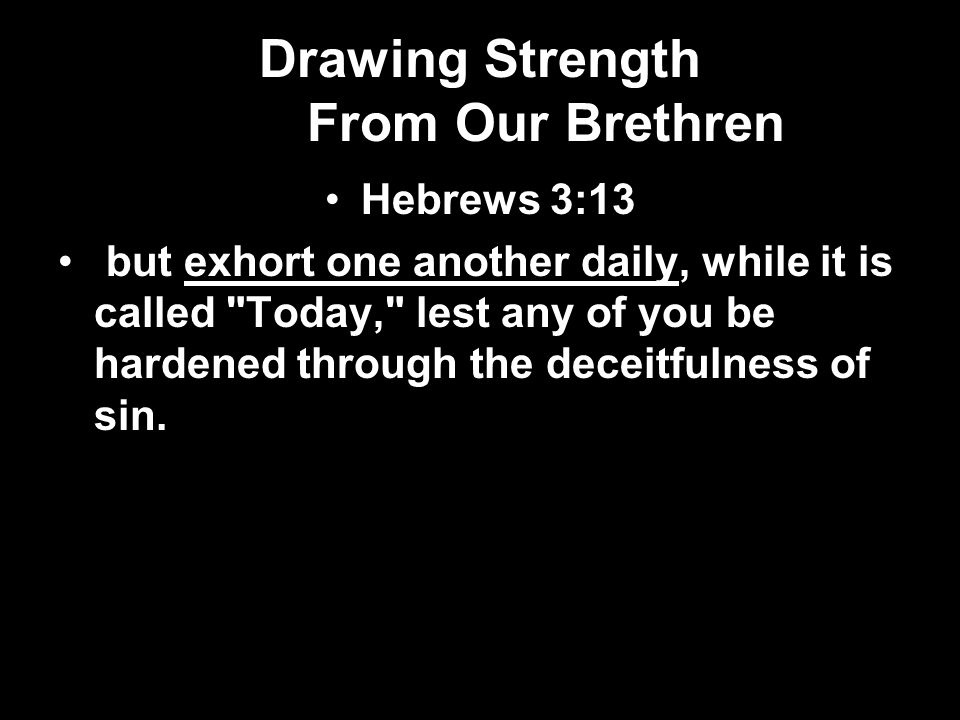 Drawing Strength From Our Brethren Hebrews 3:13 but exhort one another daily, while it is called Today, lest any of you be hardened through the deceitfulness of sin.