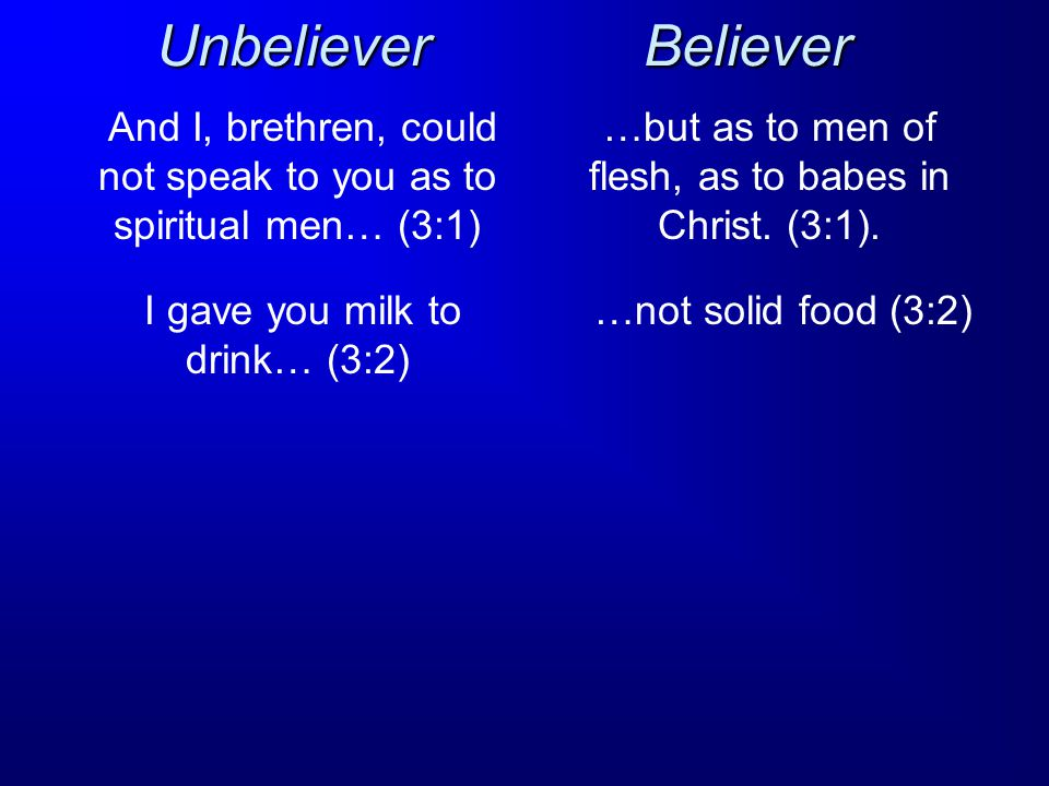 Believer And I, brethren, could not speak to you as to spiritual men… (3:1) Unbeliever …but as to men of flesh, as to babes in Christ.