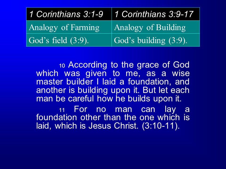 1 Corinthians 3:1-91 Corinthians 3:9-17 Analogy of FarmingAnalogy of Building God's field (3:9).God's building (3:9).