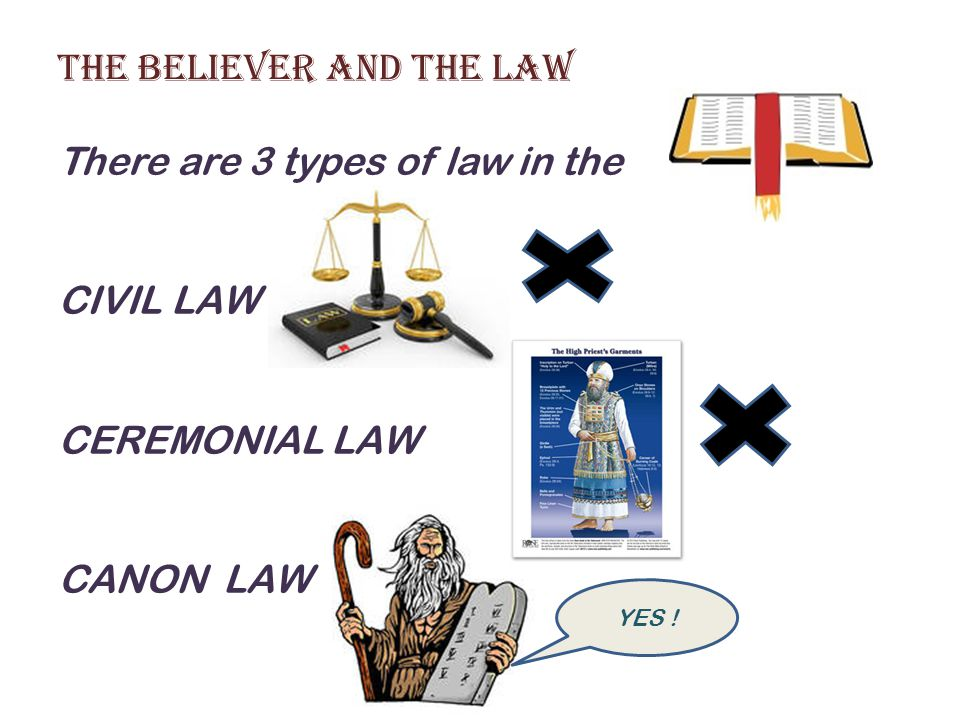 The Believer and the Law There are 3 types of law in the CIVIL LAW CEREMONIAL LAW CANON LAW YES !