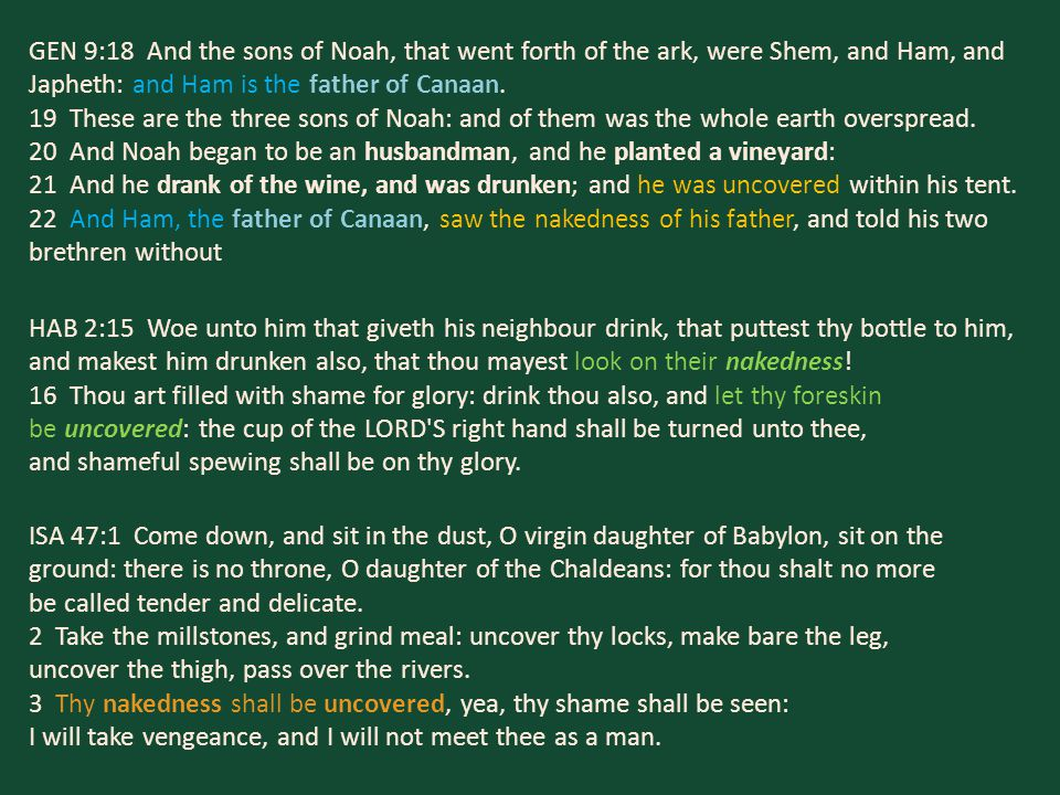 GEN 9:18 And the sons of Noah, that went forth of the ark, were Shem, and Ham, and Japheth: and Ham is the father of Canaan. 19 These are the three so
