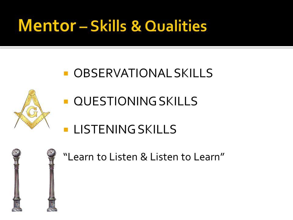 OOBSERVATIONAL SKILLS QQUESTIONING SKILLS LLISTENING SKILLS Learn to Listen & Listen to Learn