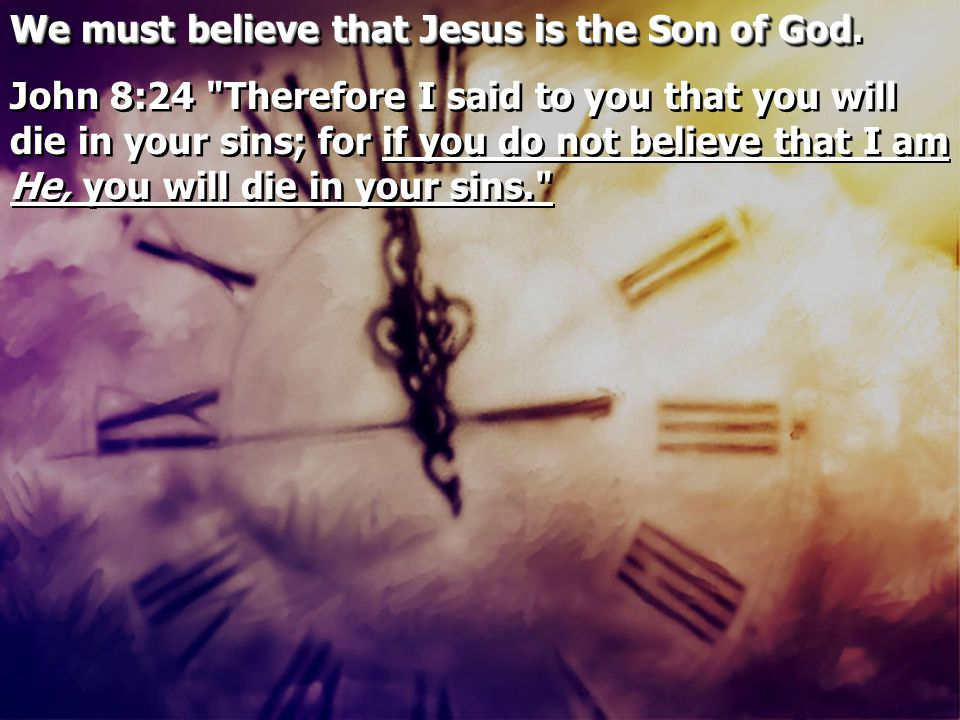 We must believe that Jesus is the Son of God We must believe that Jesus is the Son of God. John 8:24