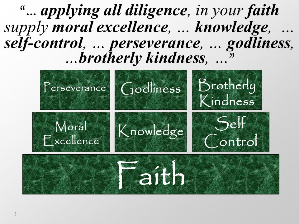1 Faith Moral Excellence Knowledge Self Control Perseverance Godliness Brotherly Kindness … applying all diligence, in your faith supply moral excellence, … knowledge, … self-control, … perseverance, … godliness, …brotherly kindness, …