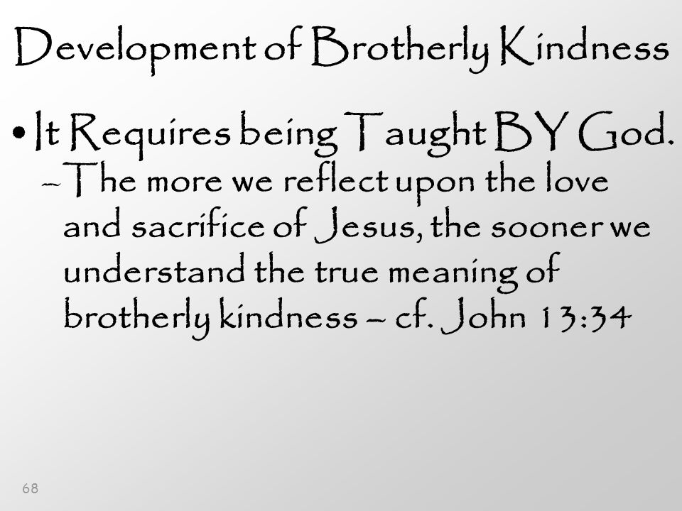 68 Development of Brotherly Kindness It Requires being Taught BY God.