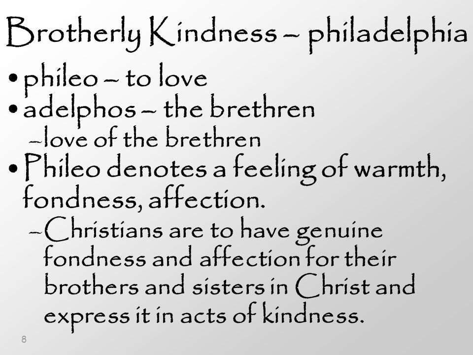 8 Brotherly Kindness – philadelphia phileo – to love adelphos – the brethren –love of the brethren Phileo denotes a feeling of warmth, fondness, affection.