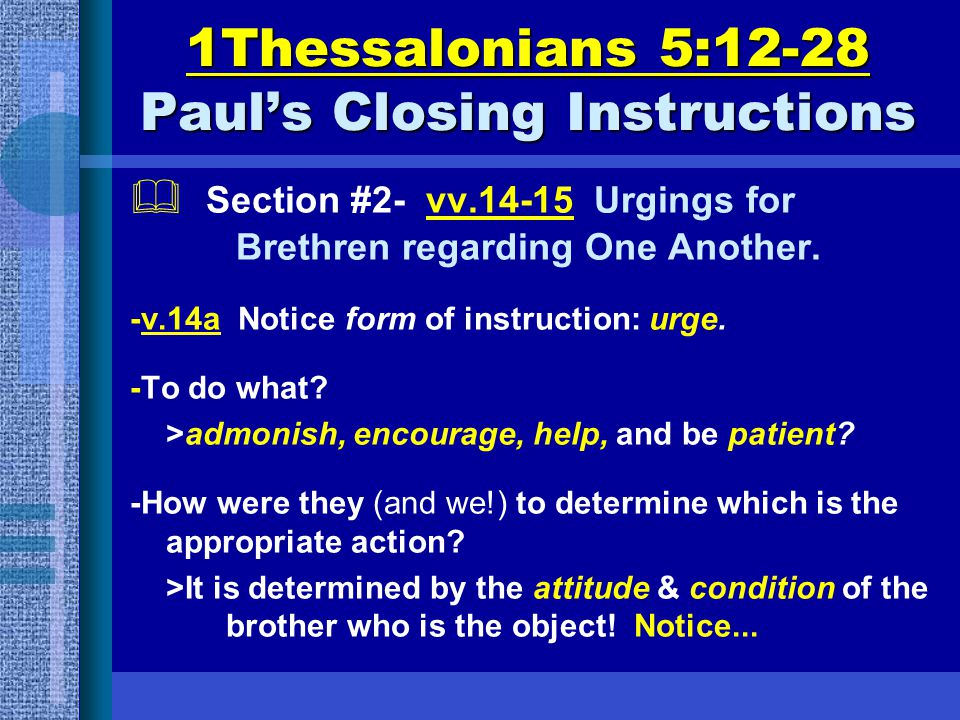 1Thessalonians 5:12-28 Paul's Closing Instructions  Section #2- vv.14-15 Urgings for Brethren regarding One Another.