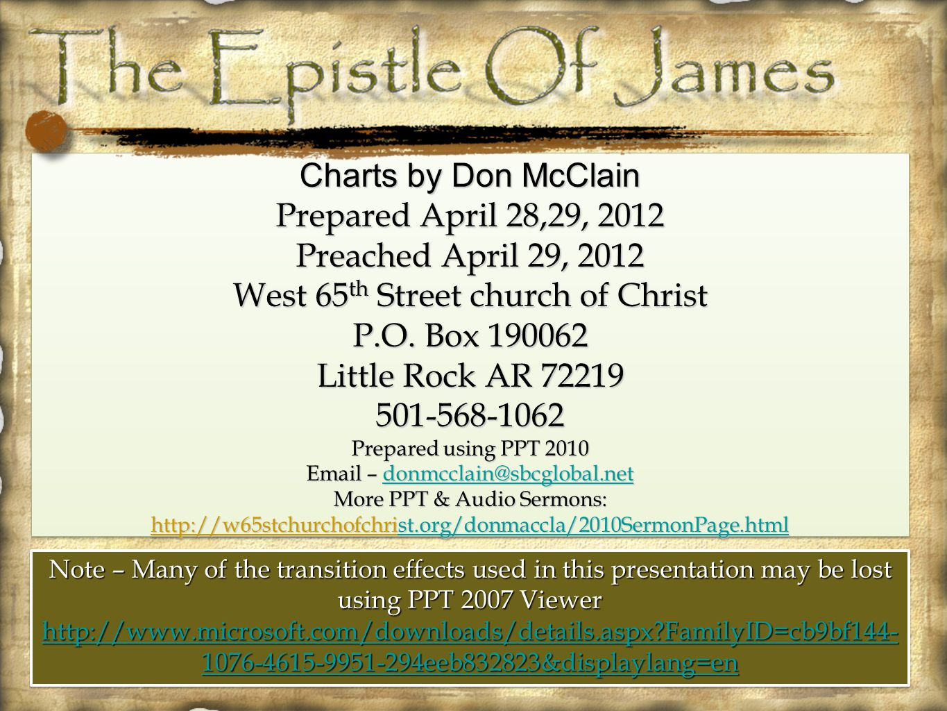 Charts by Don McClain Prepared April 28,29, 2012 Preached April 29, 2012 West 65 th Street church of Christ P.O.