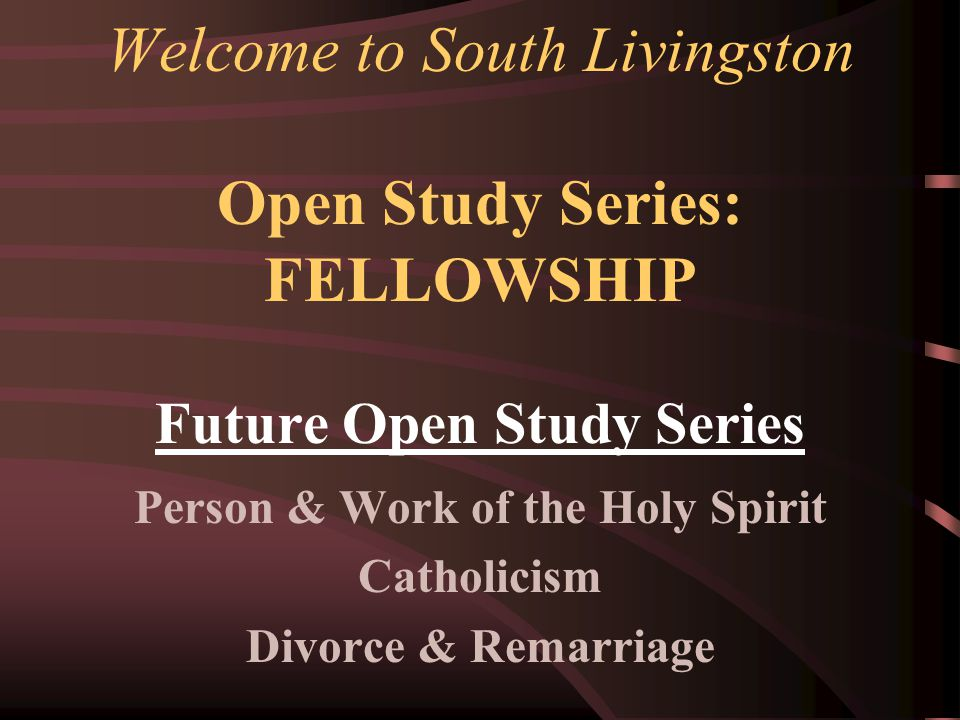 Tonight's Class: Application & Conclusions Who may we receive in ongoing fellowship.