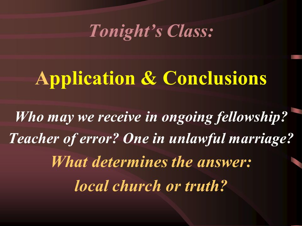 Is there any difference in the principle if the issue under consideration is fellowship?