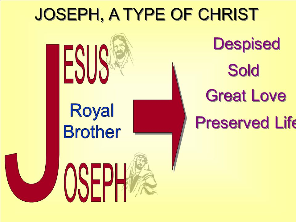 JOSEPH, A TYPE OF CHRIST Despised Sold Great Love Preserved Life