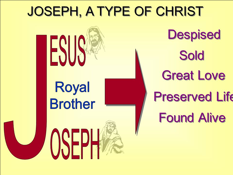 JOSEPH, A TYPE OF CHRIST Despised Sold Great Love Preserved Life Found Alive