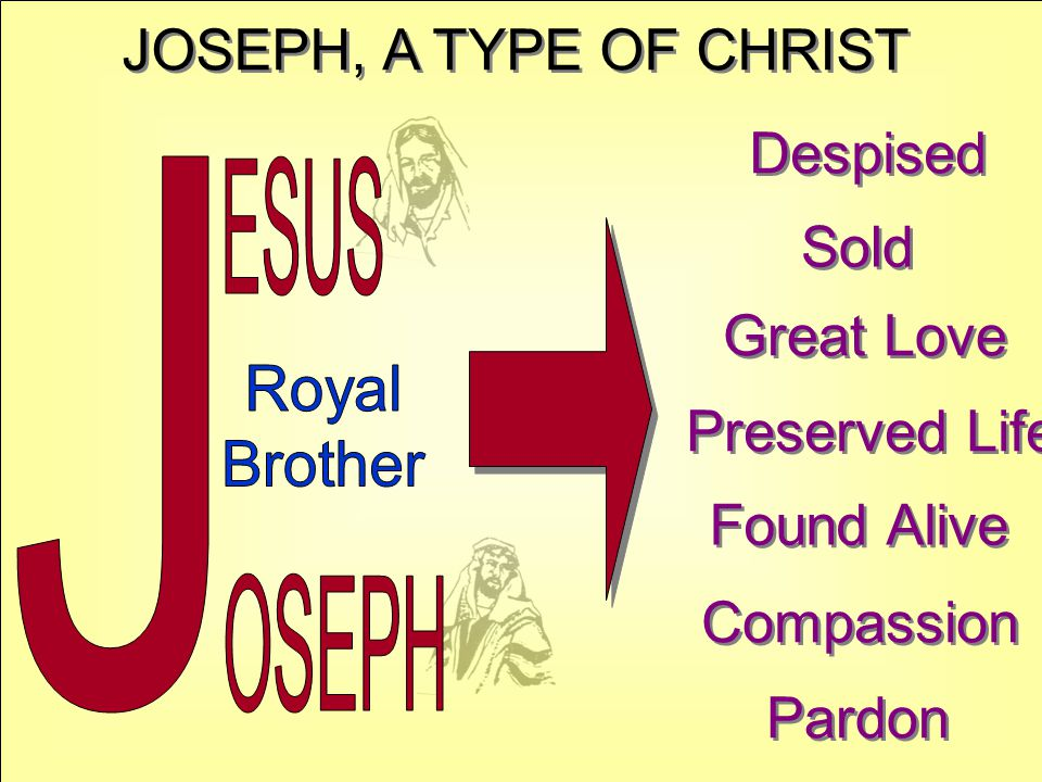 JOSEPH, A TYPE OF CHRIST Despised Sold Great Love Preserved Life Found Alive Compassion Pardon