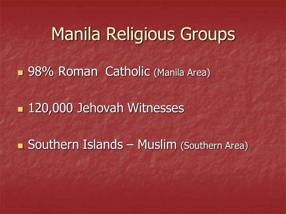 Manila Religious Groups 98% Roman Catholic (Manila Area) 98% Roman Catholic (Manila Area) 120,000 Jehovah Witnesses 120,000 Jehovah Witnesses Southern Islands – Muslim (Southern Area) Southern Islands – Muslim (Southern Area)