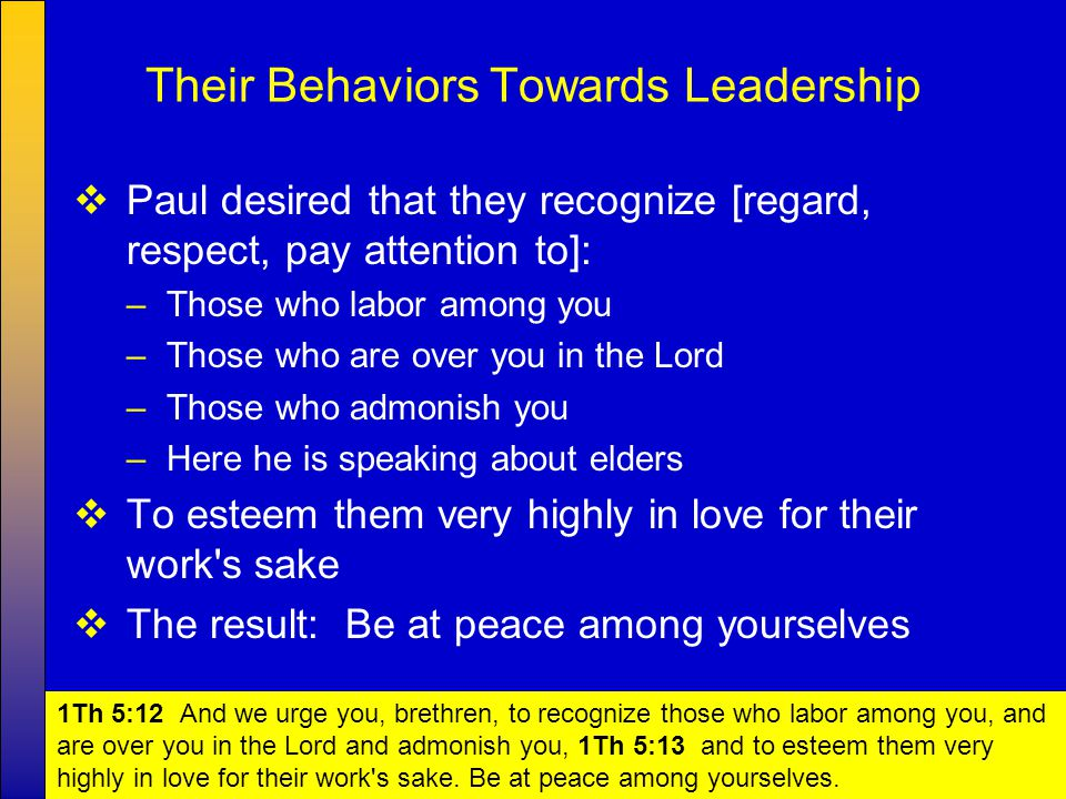7  Paul's exhortations to the brethren: –Warn those who are unruly [disorderly] –Comfort [encourage] the fainthearted [discouraged] –Uphold [support] the weak –Be patient [calm, not easily provoked] with all Their Behaviors Towards Other Members 1Th 5:14 Now we exhort you, brethren, warn those who are unruly, comfort the fainthearted, uphold the weak, be patient with all.