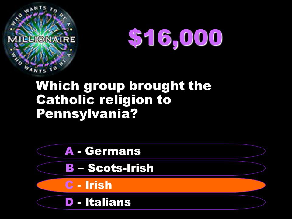 $16,000 Which group brought the Catholic religion to Pennsylvania.