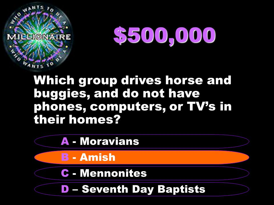$500,000 Which group drives horse and buggies, and do not have phones, computers, or TV's in their homes.