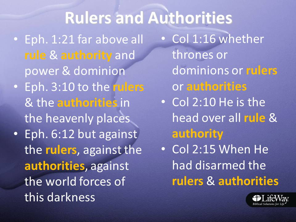 Rulers and Authorities Eph. 1:21 far above all rule & authority and power & dominion Eph.