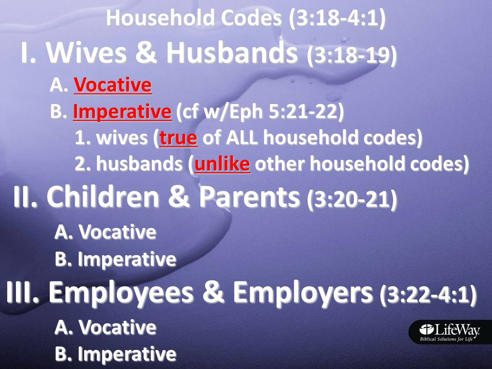 Household Codes (3:18-4:1) I. Wives & Husbands (3:18-19) I.