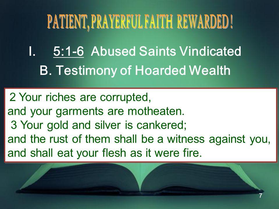 38 Invitation: 1.Two paths: living faith or dead faith 2.Two destinies 3.Forward in faith: 5:1-6 Abused saints vindicated 5:7-12 Patient saints blessed 5:13-18 Prayerful saints prevail 5:19-20 Alert saints restore the fallen