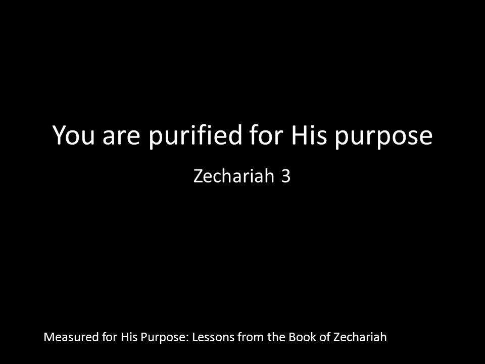You are purified for His purpose Zechariah 3 Measured for His Purpose: Lessons from the Book of Zechariah