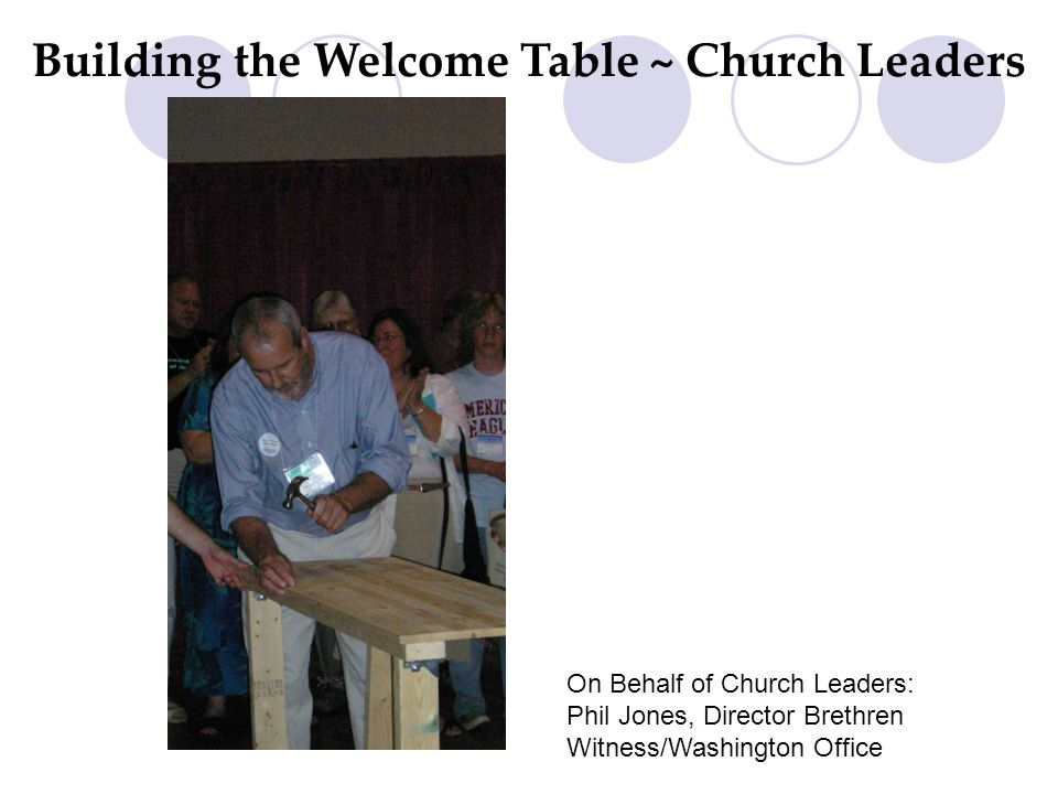 Building the Welcome Table ~ Church Leaders On Behalf of Church Leaders: Phil Jones, Director Brethren Witness/Washington Office