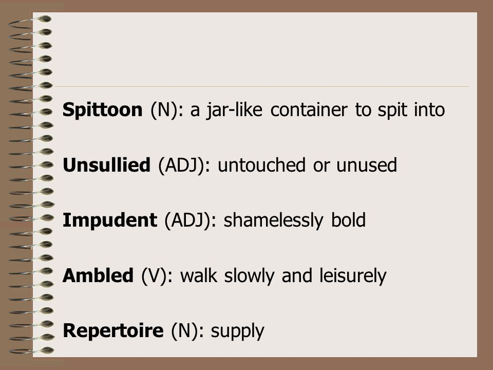 Spittoon (N): a jar-like container to spit into Unsullied (ADJ): untouched or unused Impudent (ADJ): shamelessly bold Ambled (V): walk slowly and leis