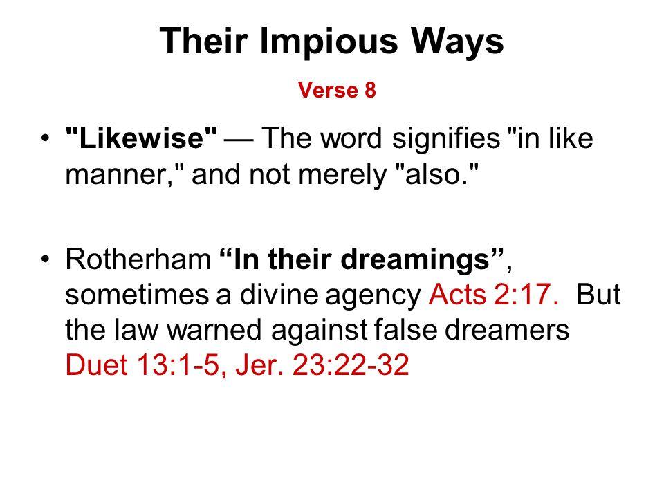 Their Impious Ways Verse 8