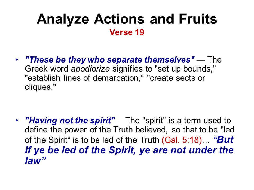 Analyze Actions and Fruits Verse 19
