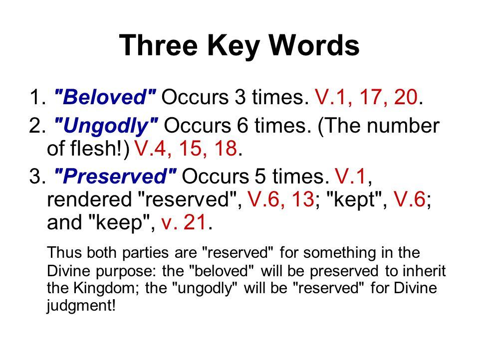 Three Key Words 1. Beloved Occurs 3 times. V.1, 17, 20.
