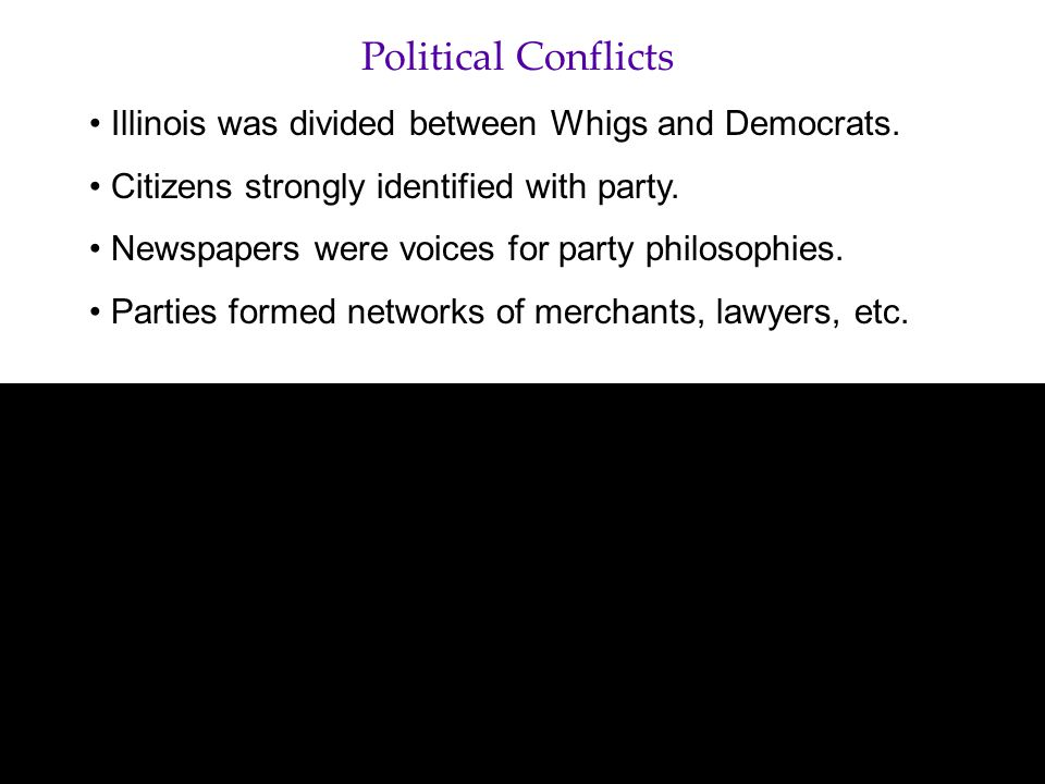 Political Conflicts Illinois was divided between Whigs and Democrats.