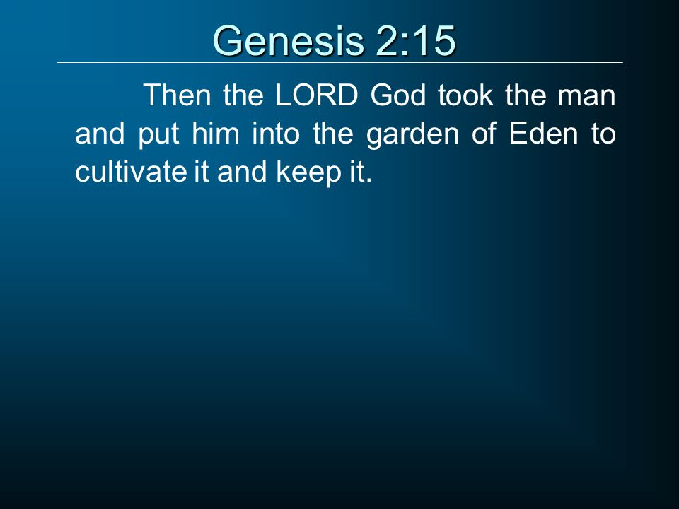 Genesis 2:15 Then the LORD God took the man and put him into the garden of Eden to cultivate it and keep it.