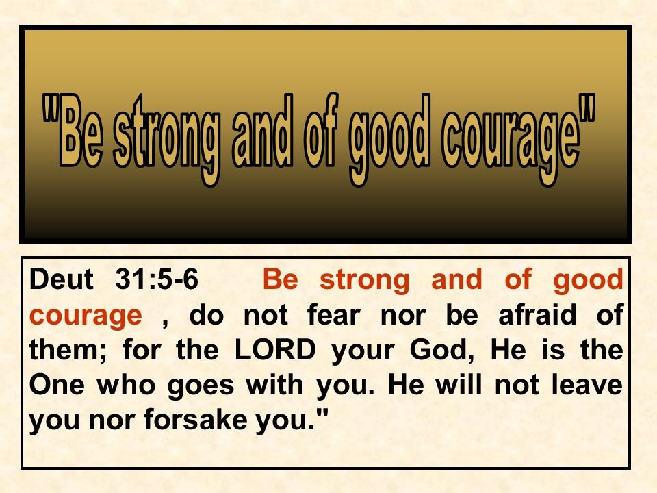 Deut 31:5-6 Be strong and of good courage, do not fear nor be afraid of them; for the LORD your God, He is the One who goes with you.